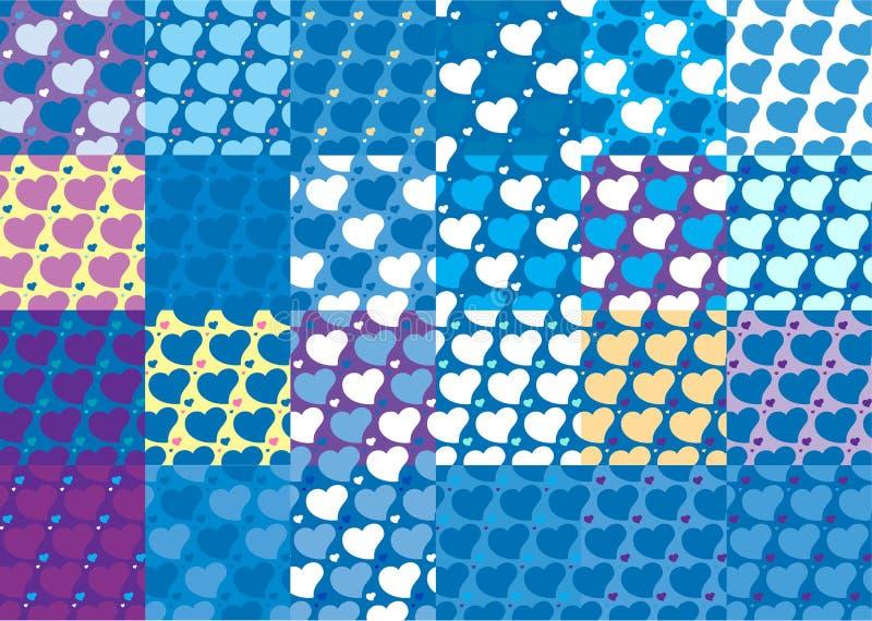O grupo de vinte quatro testes padrões sem emenda dos corações ajustou vinte quatro ilustração do vetor