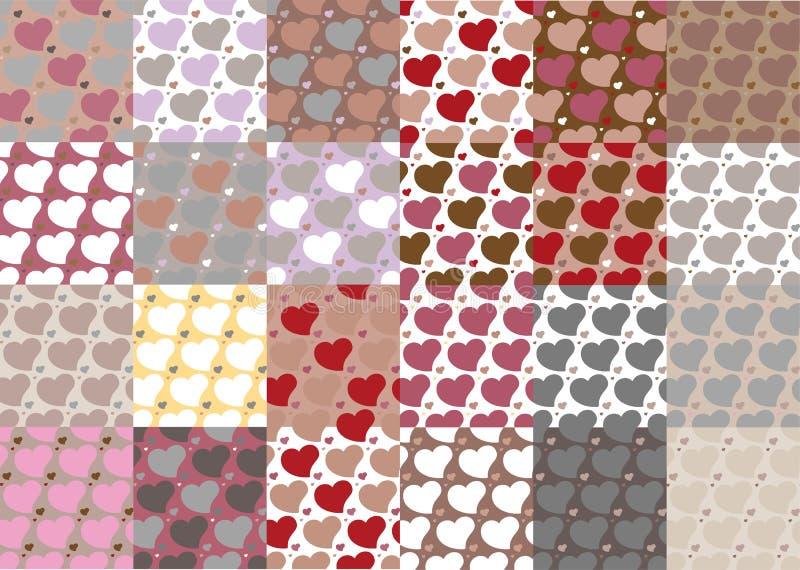 O grupo de vinte quatro testes padrões sem emenda dos corações ajustou vinte quatro ilustração stock