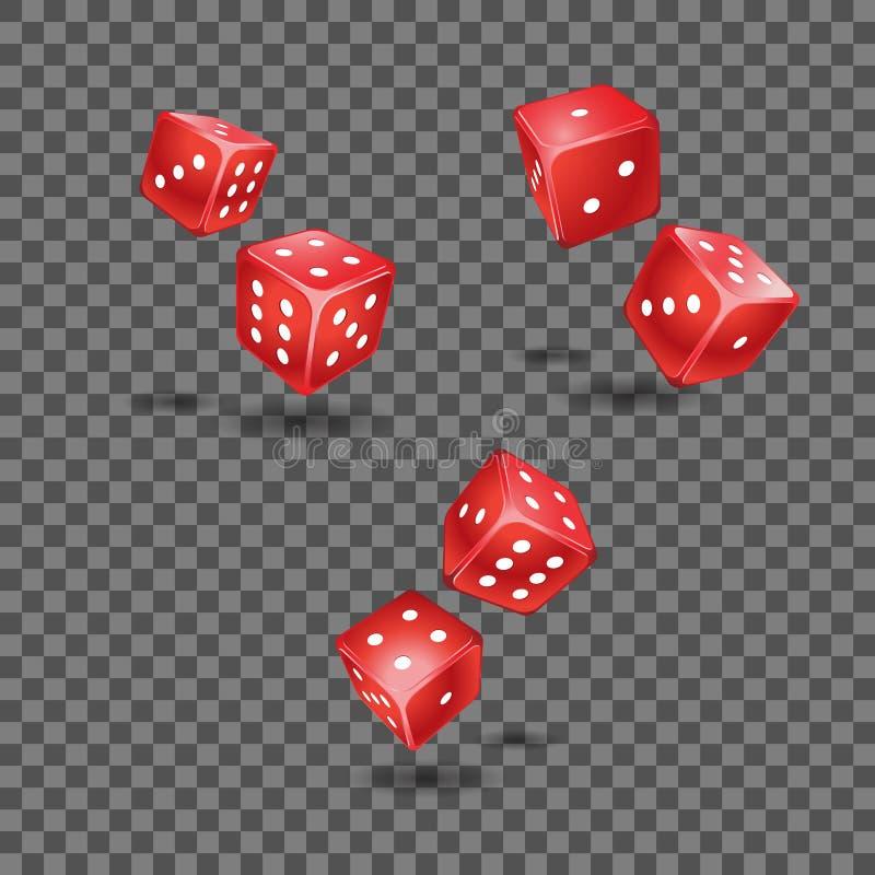 O grupo de voo vermelho morre no fundo transparente ilustração stock
