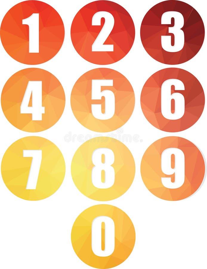 O grupo de Web redonda dos números abotoa ícones isolados do vetor ilustração do vetor
