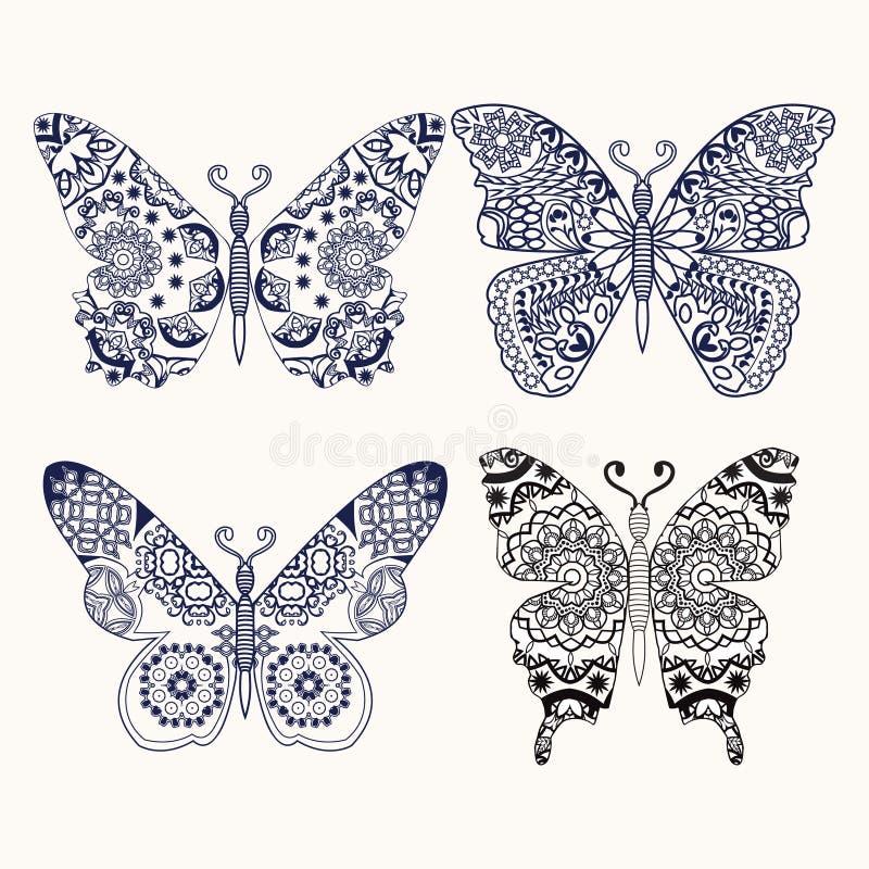 O grupo de zentangle das borboletas estilizou a ilustração tirada mão ilustração royalty free