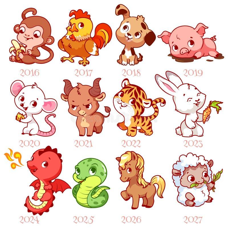 O grupo de zodíaco assina dentro o estilo dos desenhos animados Zodíaco chinês ilustração royalty free