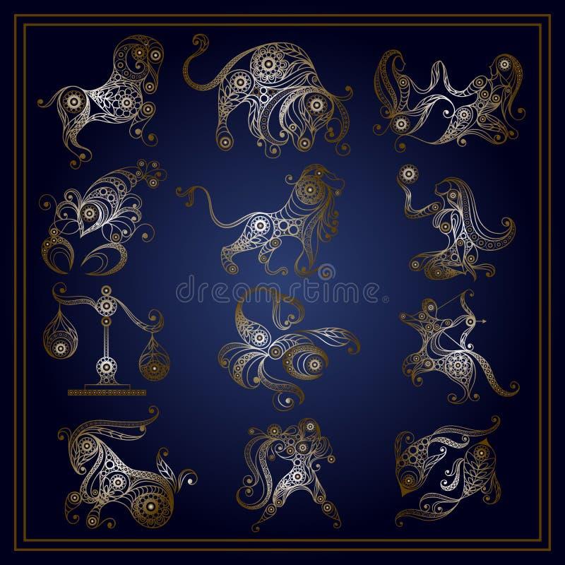 O grupo de zodíaco assina dentro o estilo floral 1 ilustração royalty free