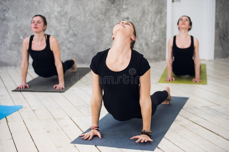 O grupo desportivo novo do trio de meninas está praticando exercícios da ioga no estúdio fotos de stock