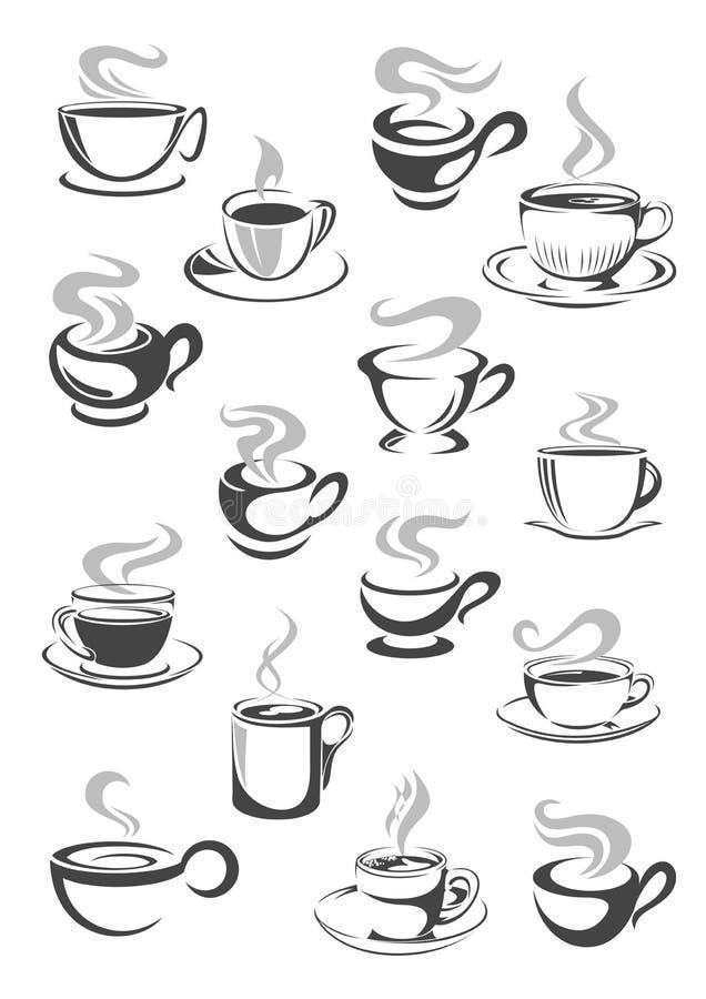 O grupo do ícone do copo de café e da caneca do chá para a bebida projeta ilustração royalty free