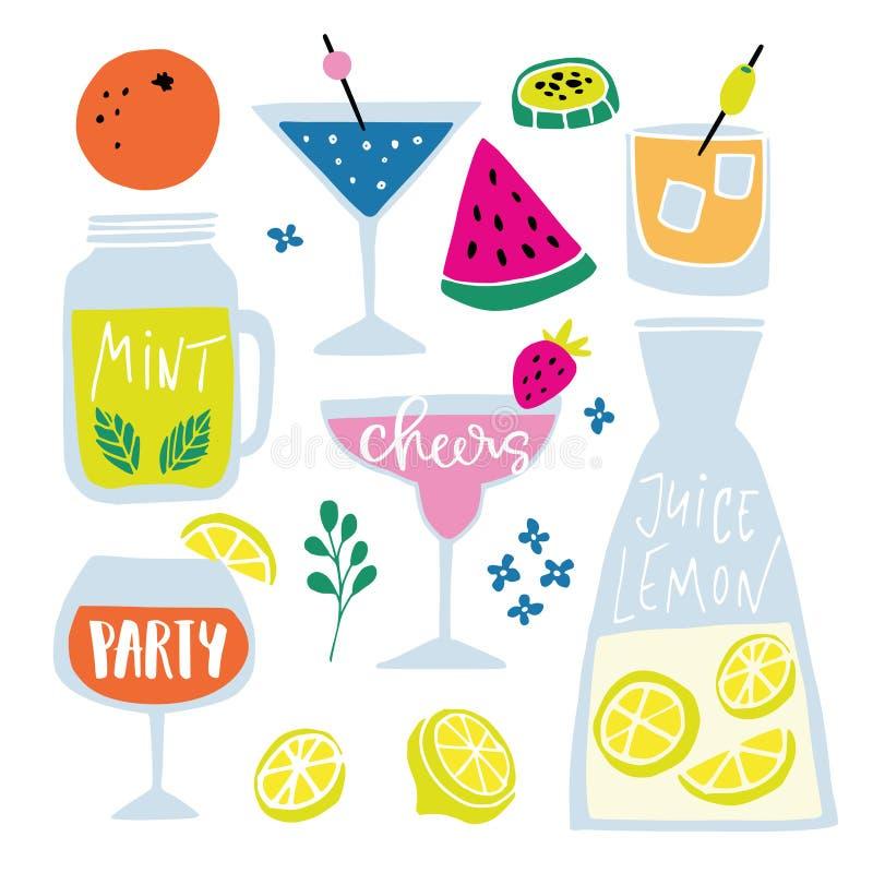 O grupo do alcoólico e dos refrescos tirados mão, cocktail com rotulação cita Férias de verão e conceito do partido da praia ilustração royalty free