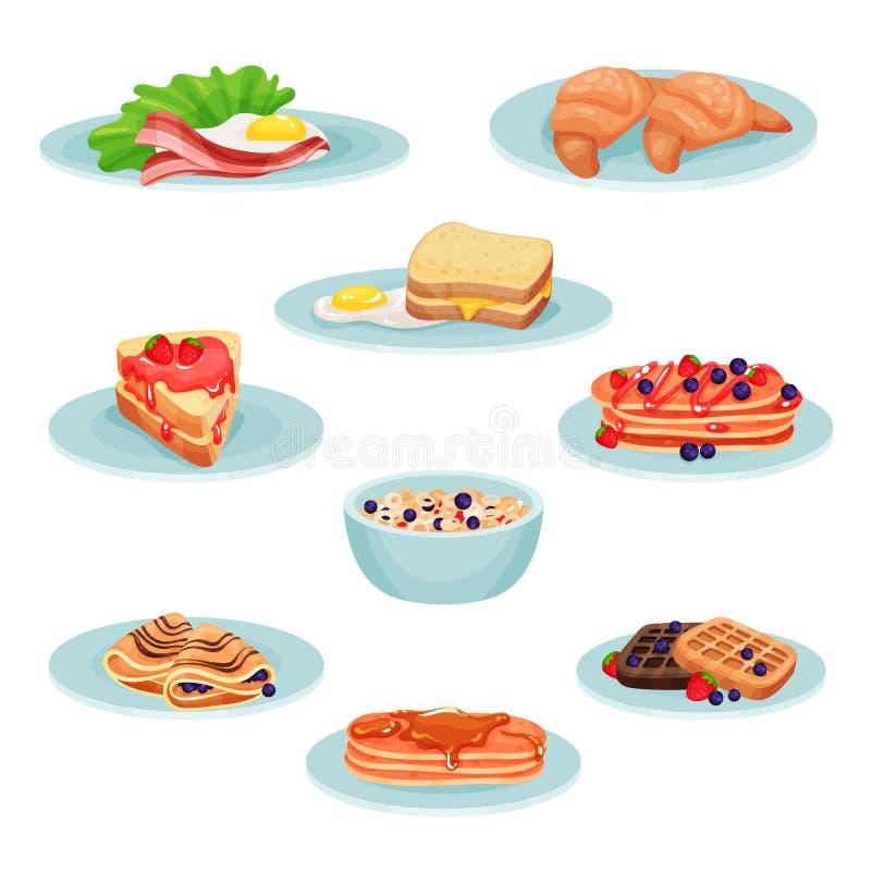 O grupo do alimento do menu do café da manhã, acon, ovos fritos, croissant, sanduíche, panquecas, muesli, bolachas vector a ilust ilustração royalty free