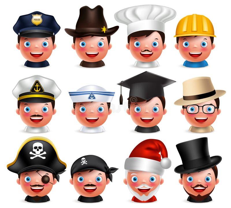 O grupo do avatar da profissão de emoticon feliz dirige com chapéus diferentes ilustração royalty free