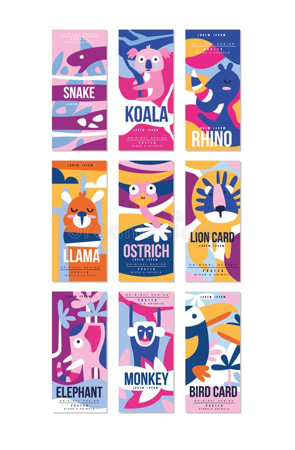 O grupo do cartaz dos pássaros e dos animais, elemento do projeto com serpente, coala, rinoceronte, lama, avestruz, leão, elefant ilustração stock