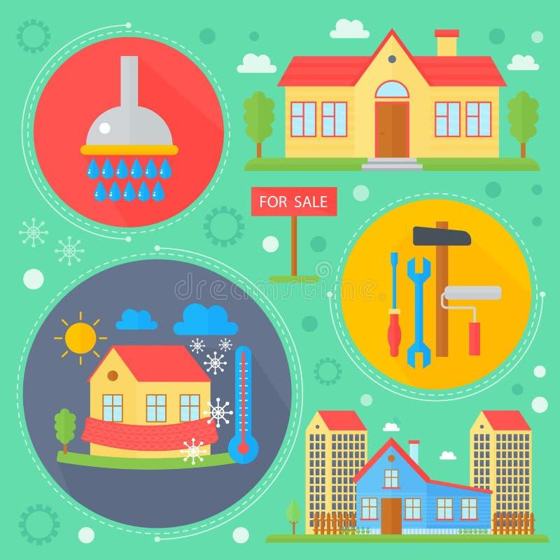 O grupo do conceito de projeto dos bens imobiliários do vetor com venda e o apartamento do mercado do arrendamento procuram o inf ilustração royalty free