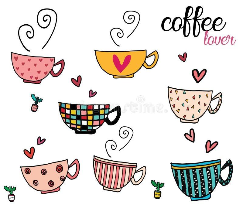 O grupo do desenho da mão da garatuja de copos de café no teste padrão diferente projeta ilustração do vetor