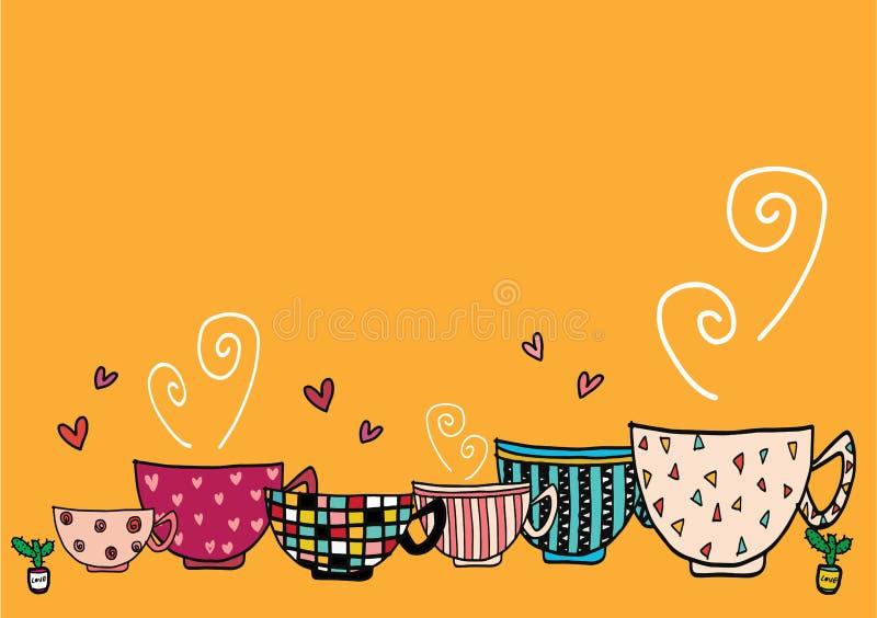 O grupo do desenho da mão da garatuja de copos de café no teste padrão diferente projeta ilustração stock