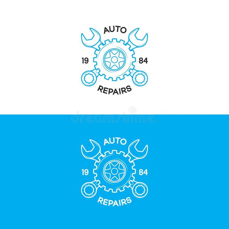 O grupo do logotipo das reparações de automóveis com linha estilo da engrenagem e da chave para o auto serviço compra, reparo do  ilustração royalty free