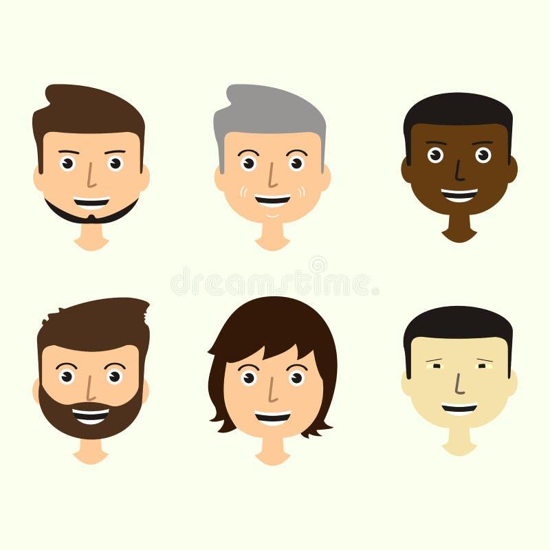 O grupo do ` s dos homens enfrenta expressar emoções positivas Rostos humanos ilustração do vetor