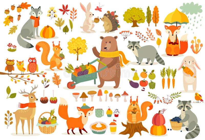 O grupo do tema da queda, animais da floresta entrega o estilo tirado ilustração royalty free