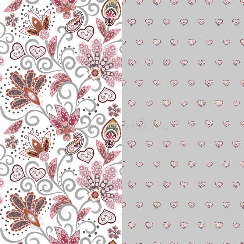 O grupo do teste padrão dois floral sem emenda horizontal com paisley e fantasia floresce a beira Textura tirada mão para a roupa ilustração do vetor