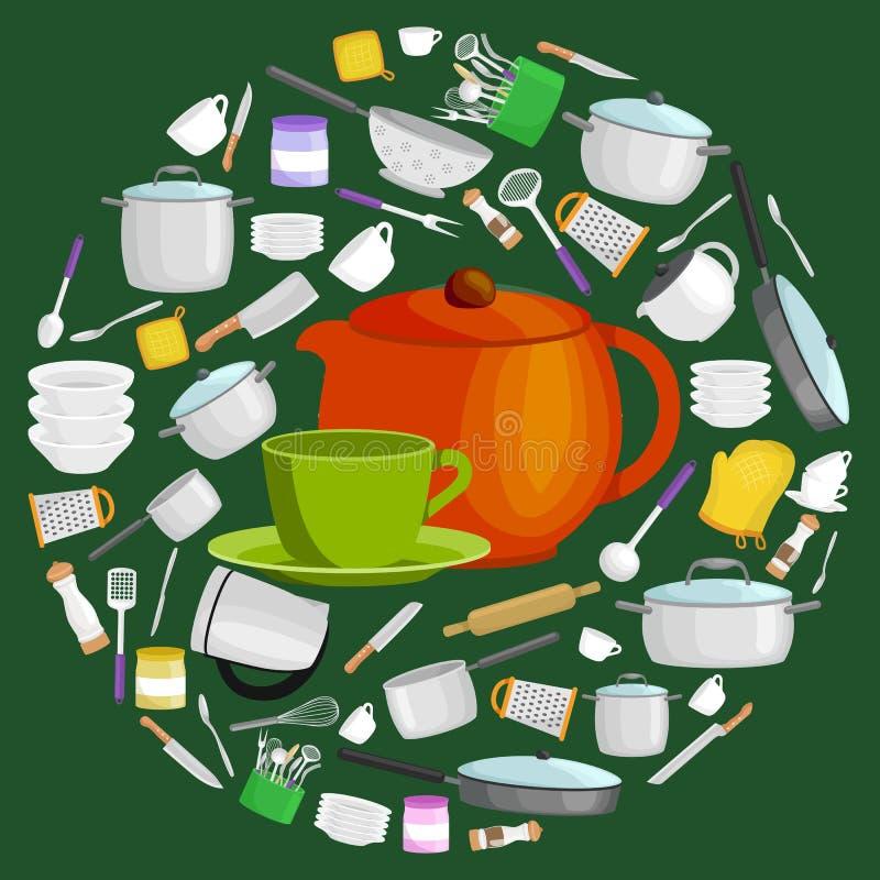 O grupo do utensílio da cozinha dos desenhos animados, a coleção do teepot alaranjado e o copo verde com pires vector a ilustraçã ilustração do vetor