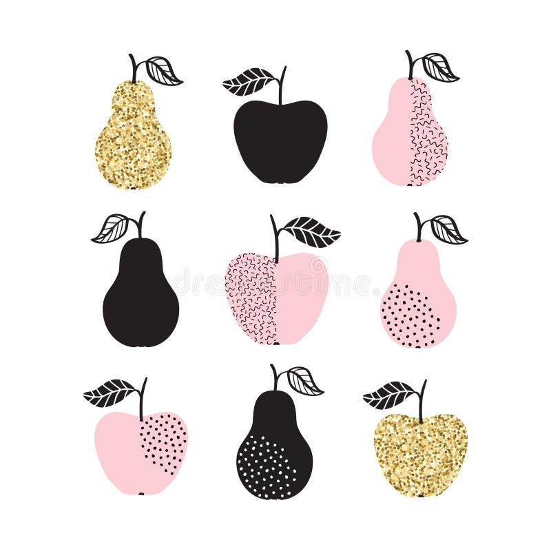 O grupo do vetor com maçãs e as peras no ouro brilham ilustração royalty free