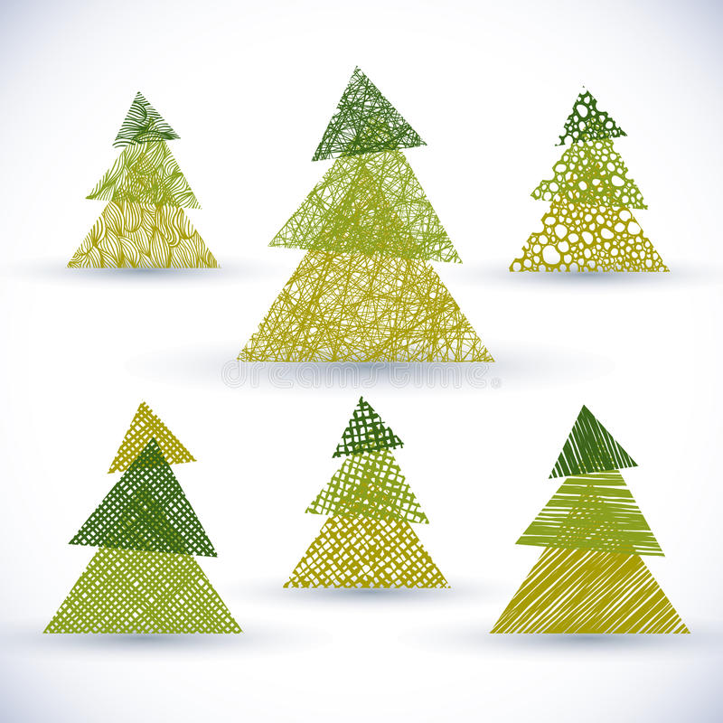 O grupo do vetor da árvore de Natal, mão tirada alinha texturas ilustração do vetor