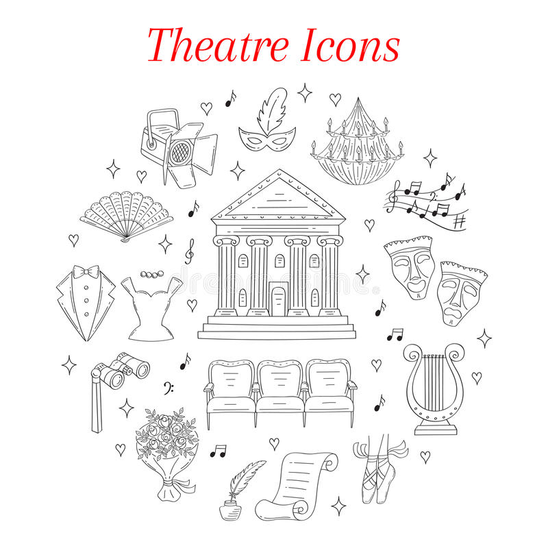 O grupo do vetor de ícones do teatro entrega tirado, garatuja ilustração royalty free