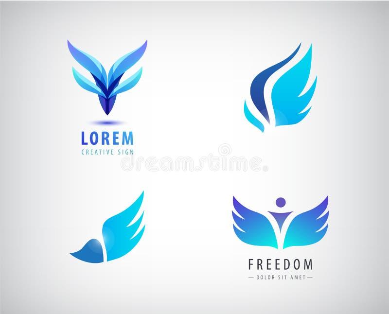 O grupo do vetor de azul voa logotipos ilustração do vetor