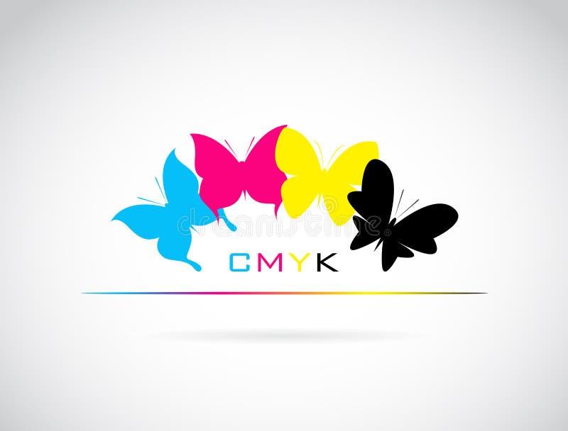 O grupo do vetor de borboleta coloriu a cópia do cmyk ilustração do vetor