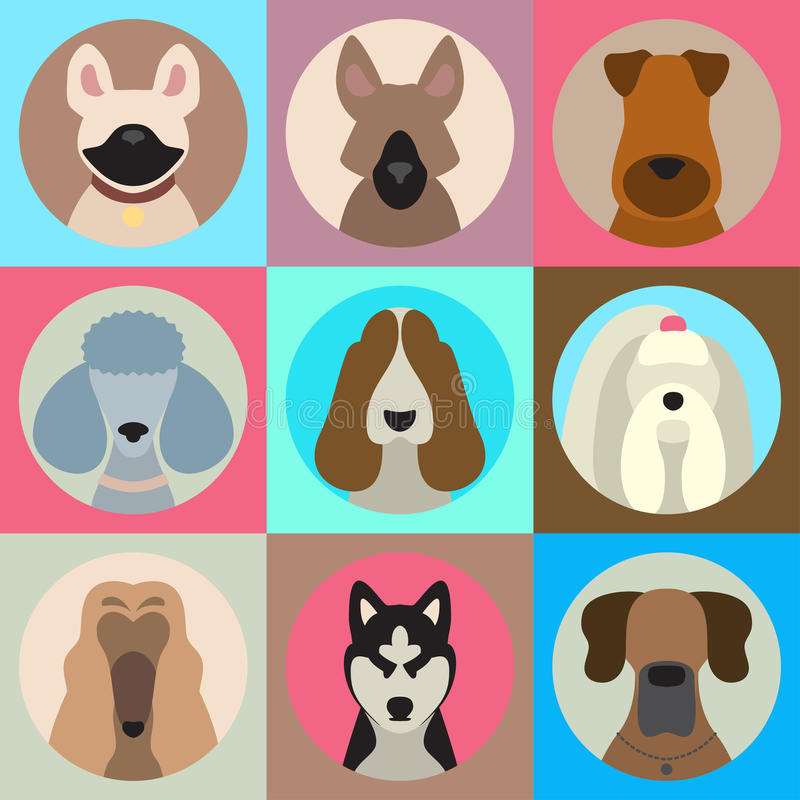 O grupo do vetor de cão diferente produz ícones do app no estilo liso ilustração royalty free