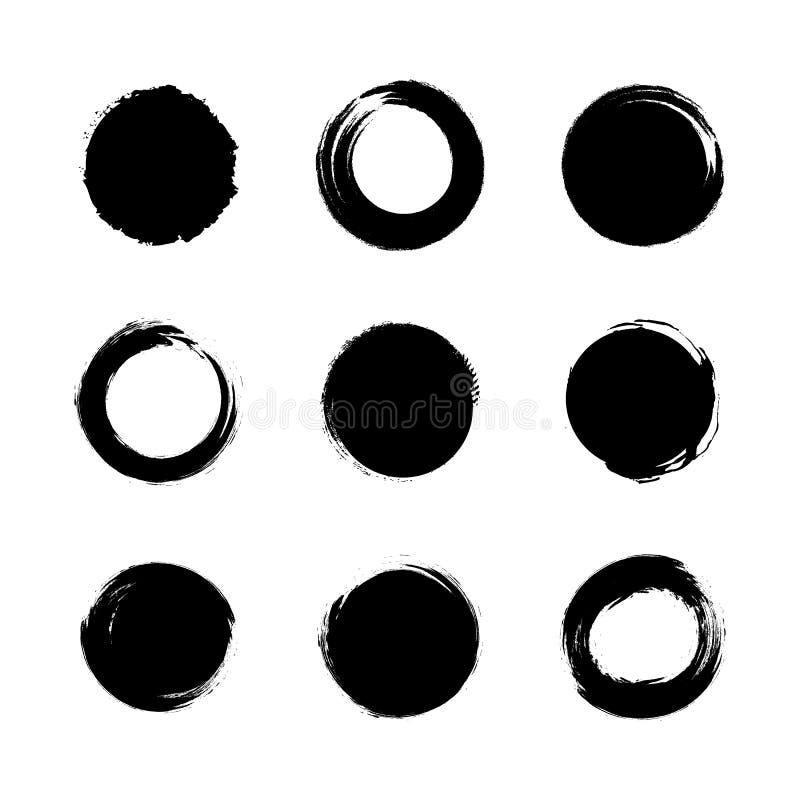 O grupo do vetor de círculos pretos do Grunge, coleção japonesa das escovas isolou-se ilustração do vetor