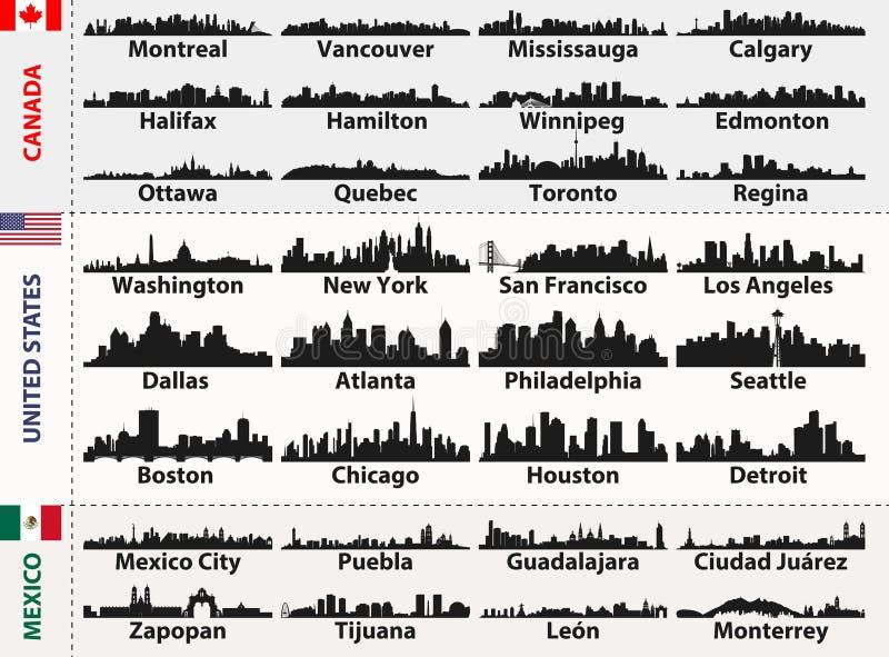 O grupo do vetor de cidades centrais e de Ámérica do Sul abstrai silhuetas das skylines ilustração stock