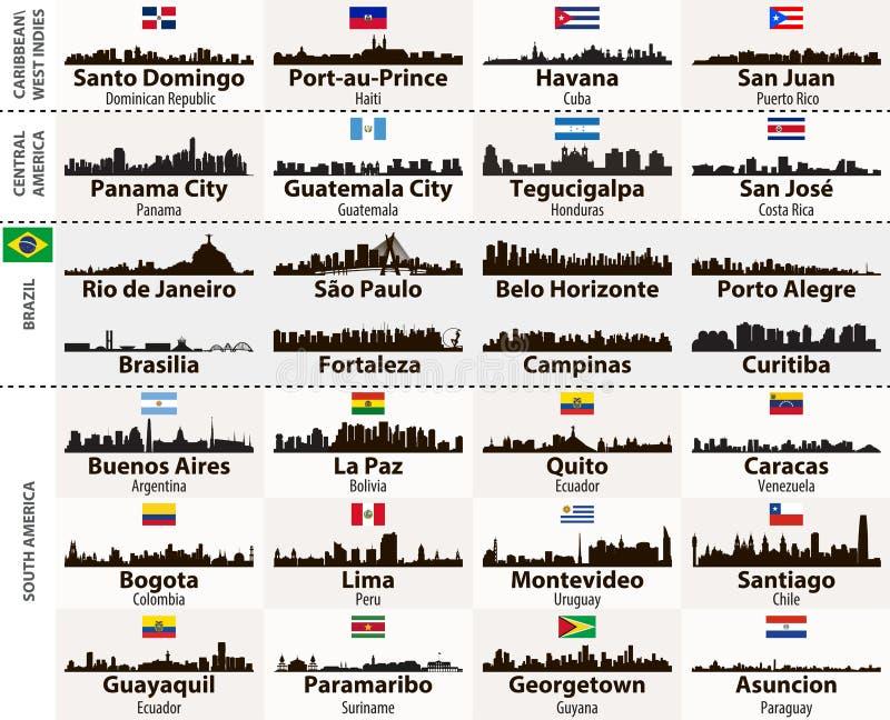 O grupo do vetor de cidades centrais e de Ámérica do Sul abstrai silhuetas das skylines ilustração royalty free