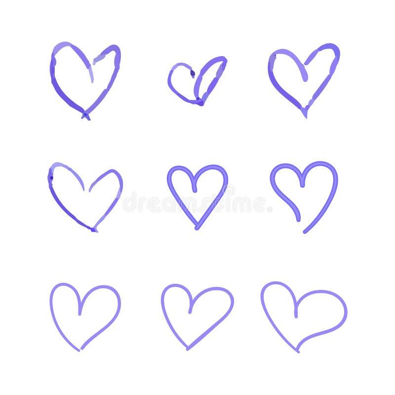 O grupo do vetor de corações tirados mão, desenhos azuis isolados no fundo branco, ícones de Ballpen do esboço ajustou-se ilustração royalty free