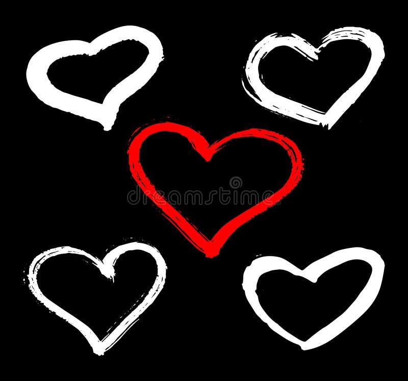 O grupo do vetor de corações vermelhos, preto e branco dá forma Quadros e selos tirados mão do coração Bandeira da pintura da esc ilustração royalty free