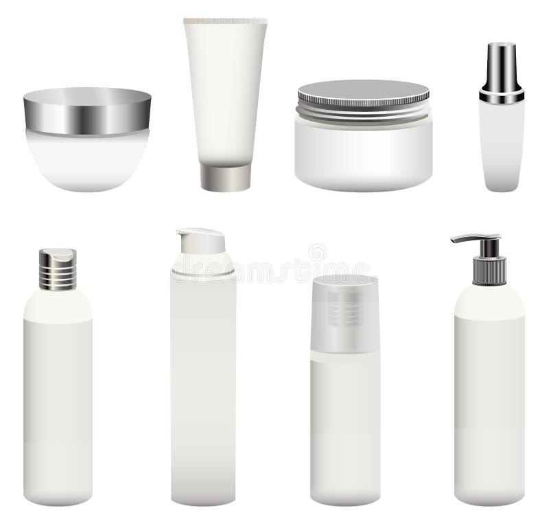 O grupo do vetor de cosméticos vazios empacota as garrafas, os recipientes, os frascos de creme e os outro isolados no fundo bran ilustração stock