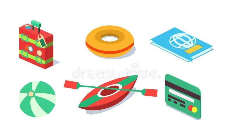 O grupo do vetor de curso isométrico objeta a mala de viagem, o anel inflável, a bola de praia, o cartão plástico, o caiaque e o  ilustração do vetor