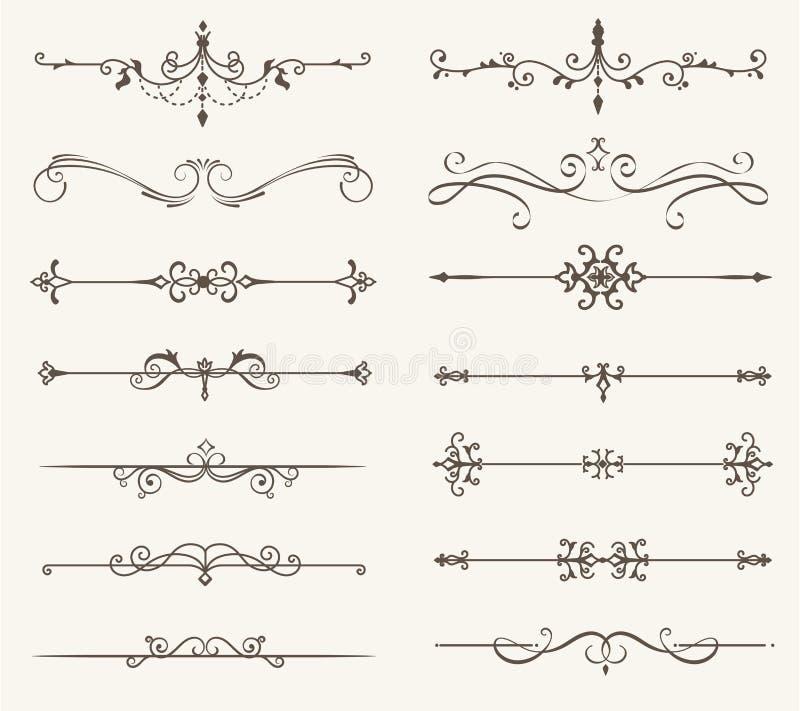 O grupo do vetor de elementos, de linha e de página decorativos ordena o quadro ilustração stock