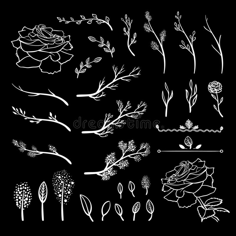 O grupo do vetor de elementos tirados giz, galhos da mola, brotos, folhas, flores, os desenhos brancos isolou-se ilustração stock