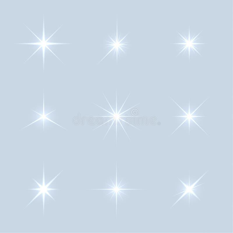 O grupo do vetor de faísca ilumina estrelas ilustração stock