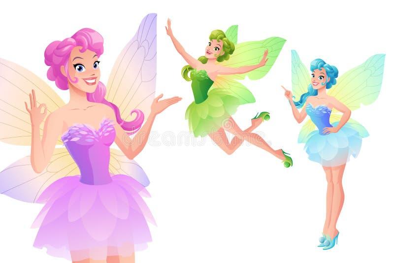 O grupo do vetor de fadas coloridas bonitos com borboleta voa ilustração do vetor