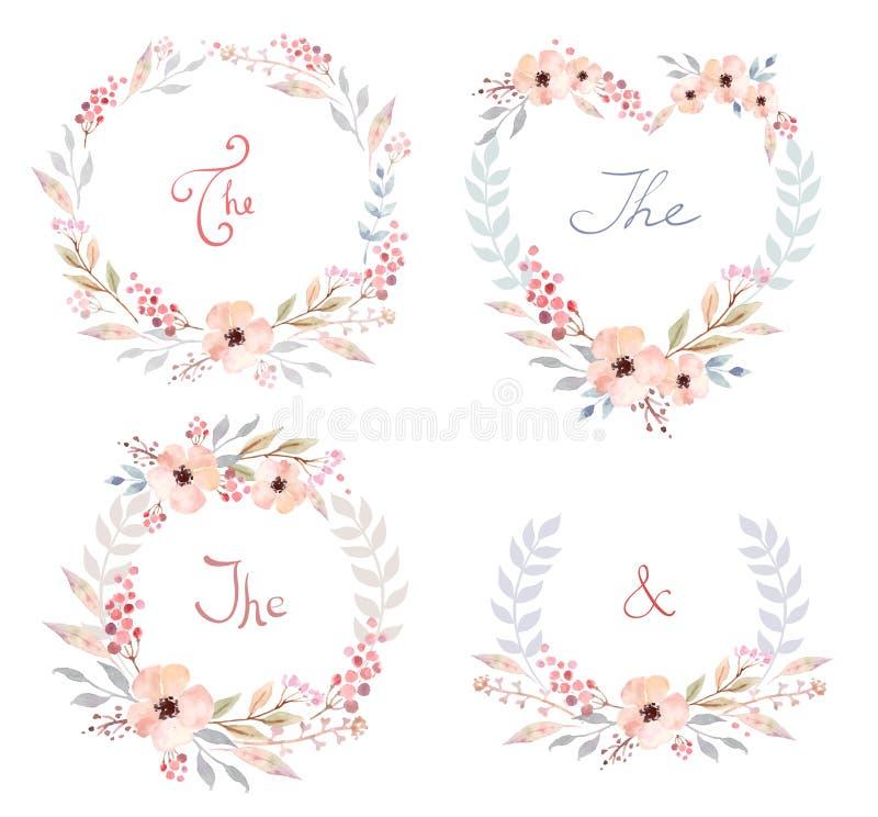 O grupo do vetor de flores retros bonitos arranjou o un uma forma da grinalda perfeita para convites do casamento e cartões de an ilustração royalty free