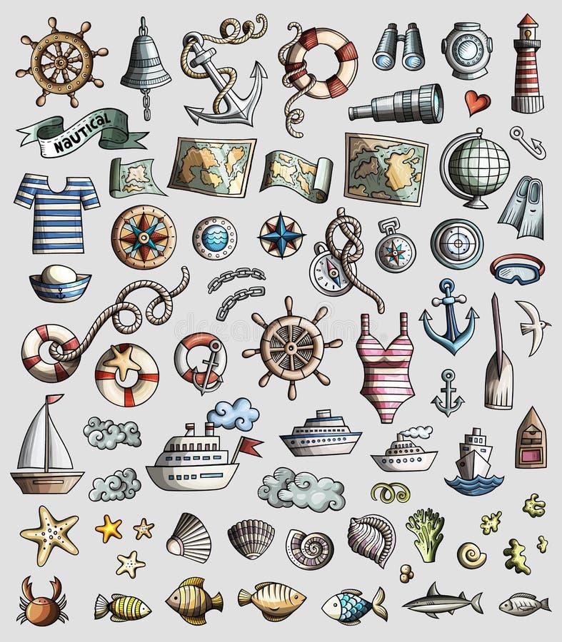 O grupo do vetor de garatuja marinha, náutica dos desenhos animados 3d objeta ilustração royalty free
