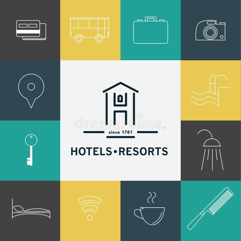 O grupo do vetor de logotipo do hotel e do recurso projeta ilustração royalty free