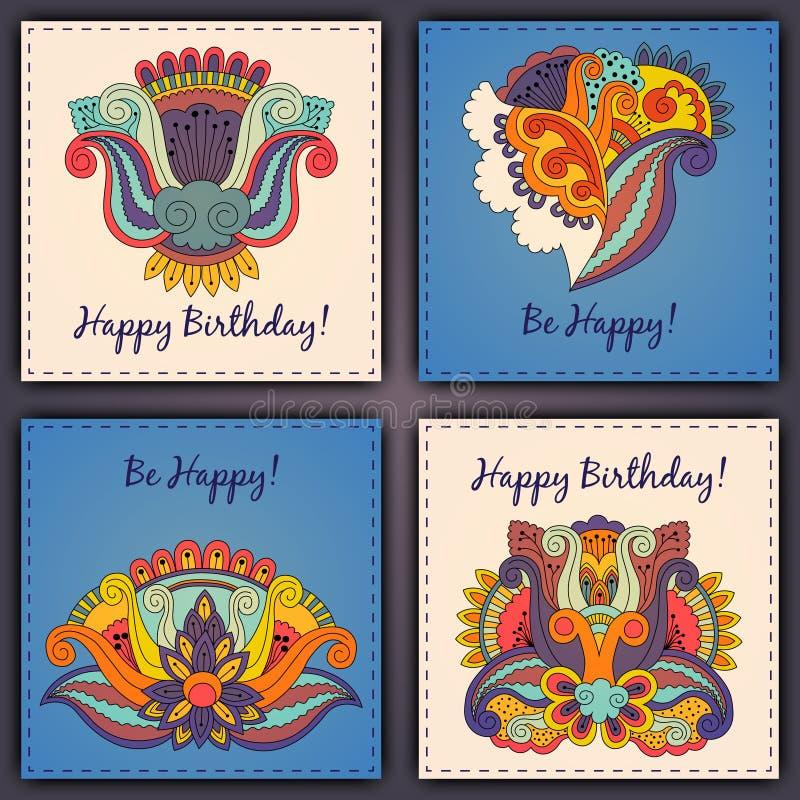 O grupo do vetor de mão do sumário do cartão de aniversário tirada rabisca imagem de stock royalty free