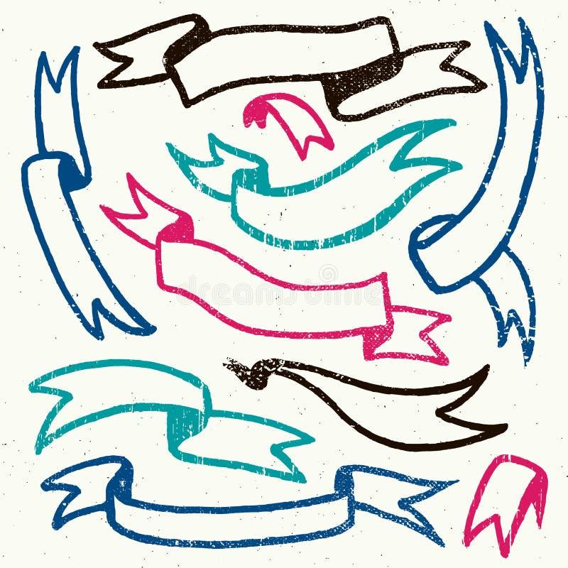 O grupo do vetor de mão tirado textured fitas retros ilustração stock