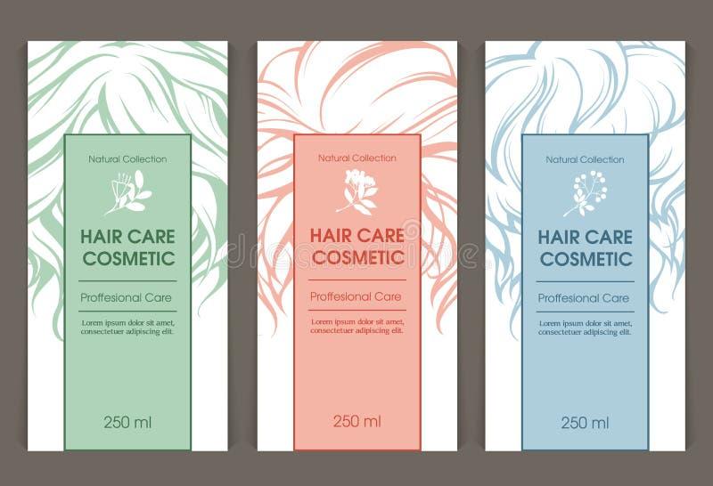 O grupo do vetor de moldes colore cuidados capilares de empacotamento cosméticos ilustração stock