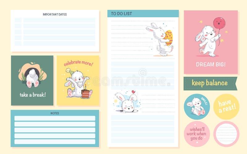 O grupo do vetor de página do planejador do calendário diário, cartão, etiquetas projeta o molde para crianças ilustração do vetor