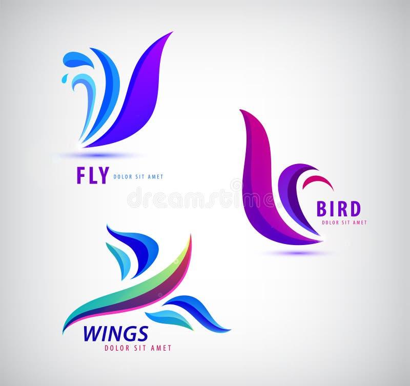 O grupo do vetor de pássaro, mosca, voa logotipos Ícones abstratos ilustração stock