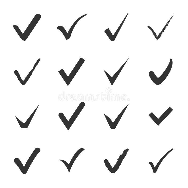 O grupo do vetor de preto confirma ícones da caixa de verificação ilustração stock