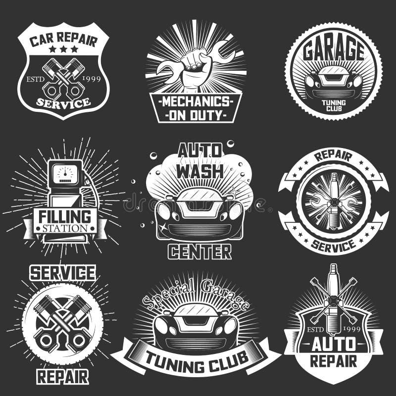 O grupo do vetor de serviço do carro do vintage etiqueta crachás ilustração royalty free