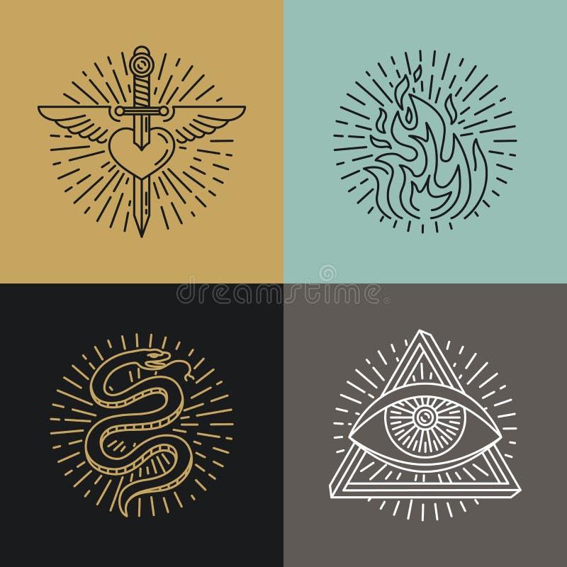 O grupo do vetor de tatuagem denominou ícones ilustração stock