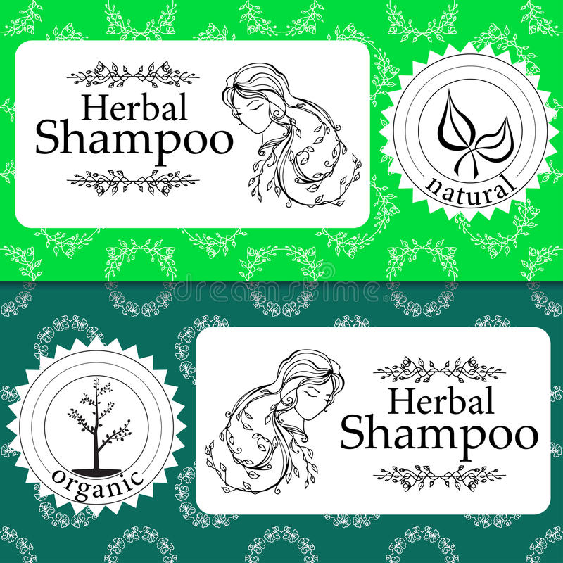 O grupo do vetor de testes padrões sem emenda, as etiquetas e o logotipo projetam moldes para o champô erval natural que empacota ilustração stock